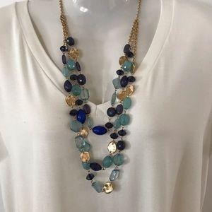 Blue and Gold Necklace and set of 3 bracelets